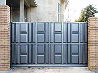 Откатные ворота 4000х2000 заполнение филенка, фото 1