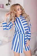 Платье-рубашка женское из штапеля в полоску P9698, фото 1