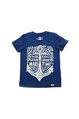 Стильная футболка для мальчика из морской коллекции 7-8 лет (р. 122-128) ТМ Модный карапуз Темно-синий