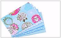 Набор тканей для пэчворка, скрапбукинга, рукоделия голубая Париж (5 отрезов  40*50 см), фото 1