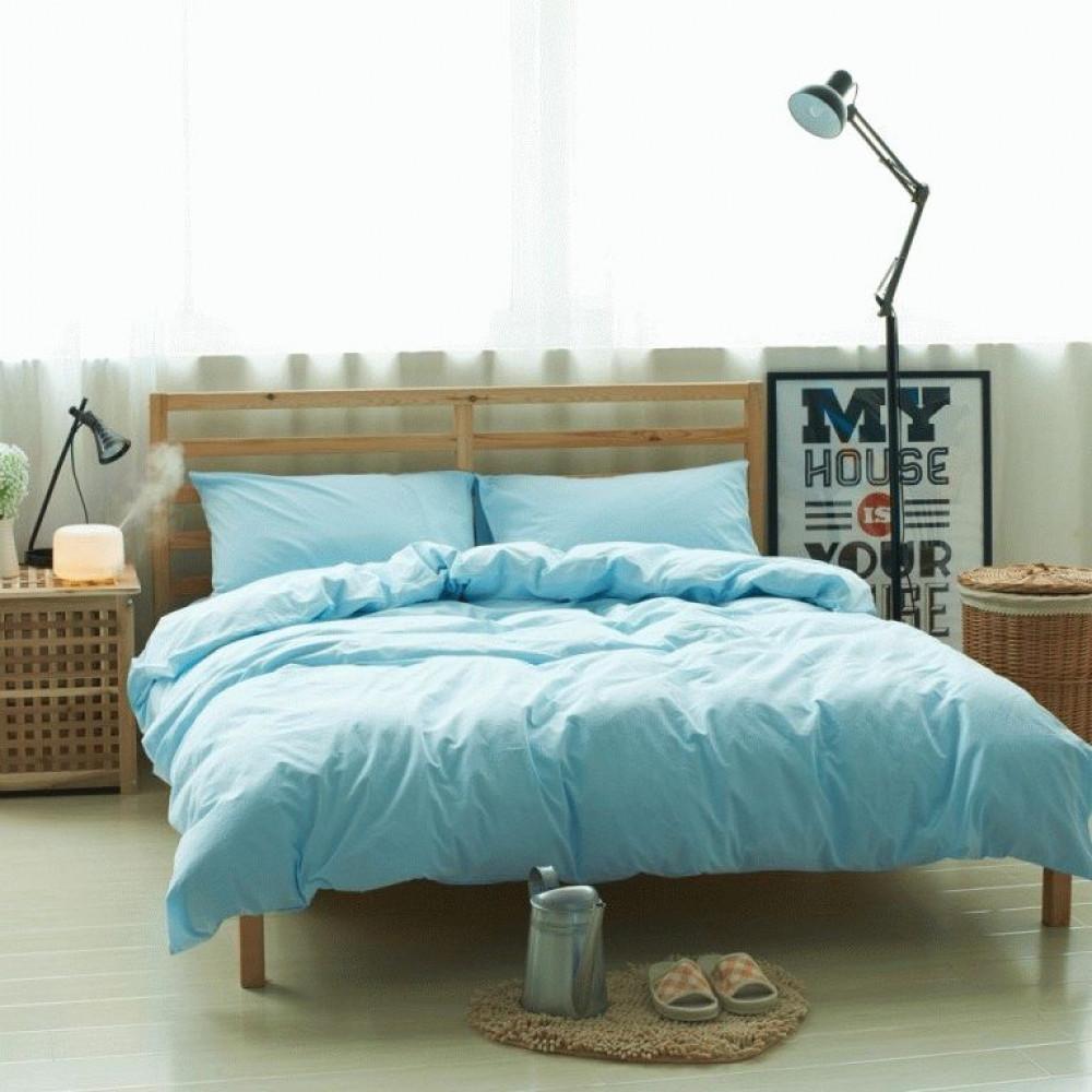 Постельное белье Комплект белья из льна Голубой №1347 ТМ Комфорт-текстиль (Евро)