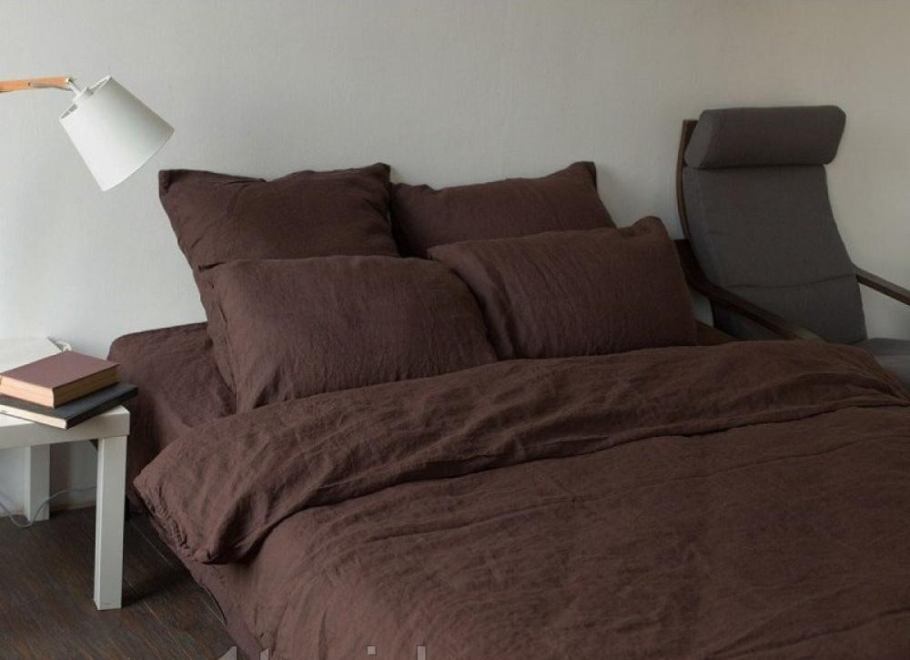 Постельное белье из льна Темный шоколад №1397 ТМ Комфорт-текстиль (Двуспальный)