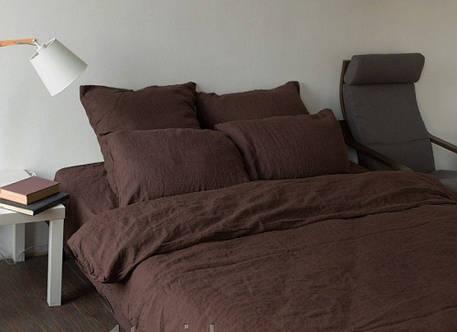 Постельное белье из льна Темный шоколад №1397 ТМ Комфорт-текстиль (Полуторный), фото 2