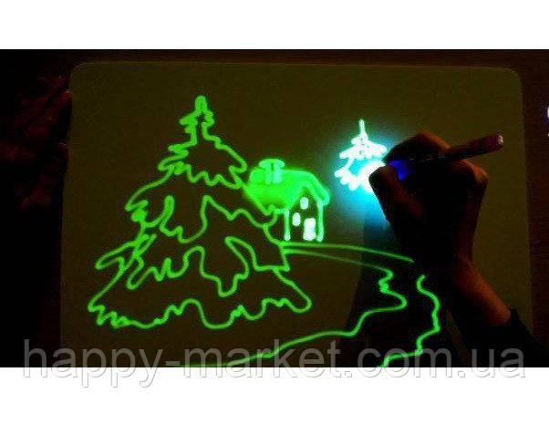 Планшет Доска для рисования светом (23.5*33) +трафарет буквы,маркер PC-A4-17