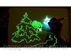 Планшет Доска для рисования светом (21*30) +трафарет буквы,маркер YQ558-1