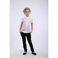 Блуза школьная, летняя, нарядная белая Дана, Da-na блузочка для дівчинки з коротким рукавом