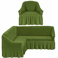 Еврочехол на угловой диван с креслом, Турция с оборкой (Зеленый)