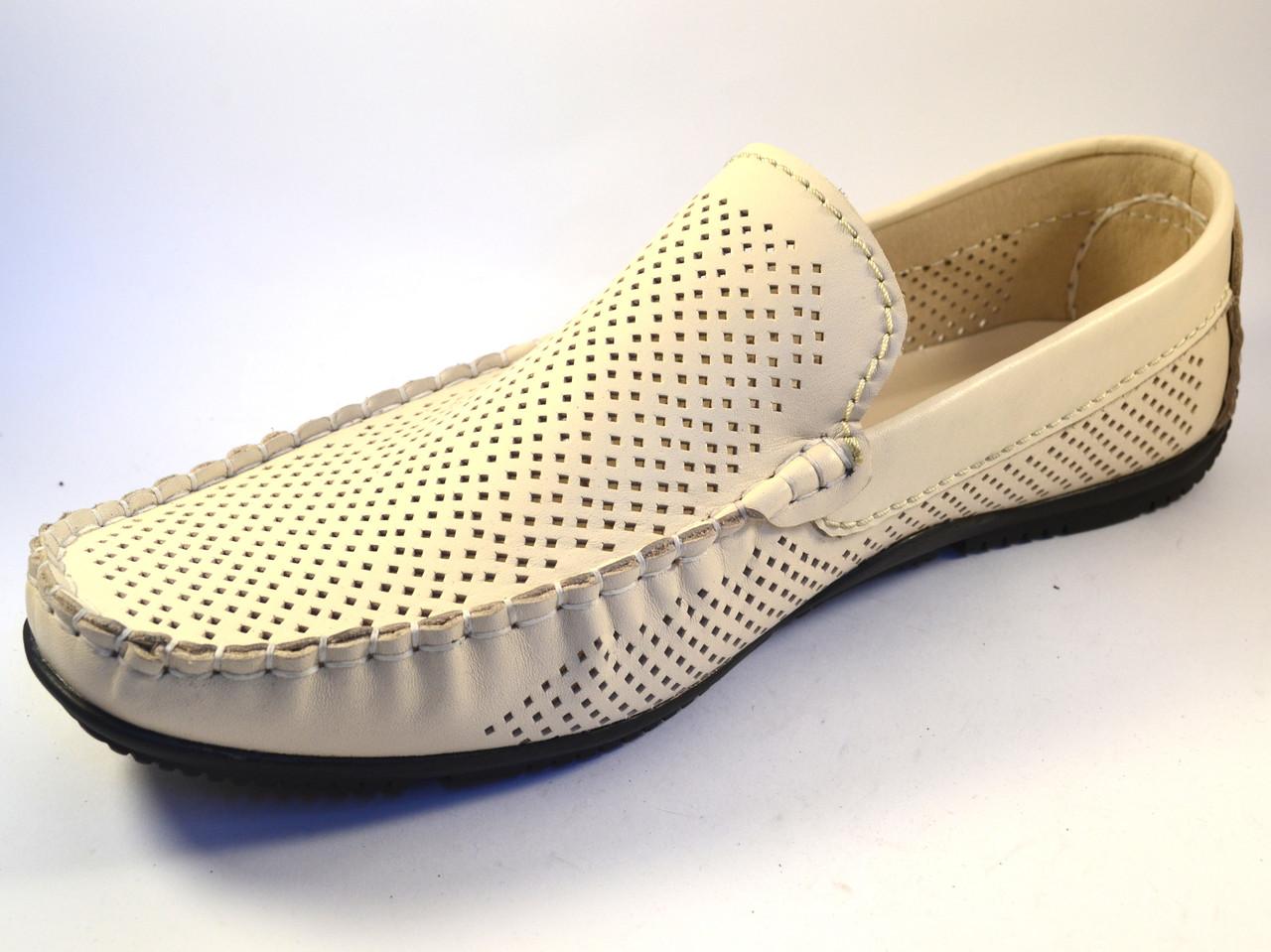 Обувь больших размеров мужская мокасины бежевые летние кожаные в сеточку Rosso Avangard M4 Beige Perf BS