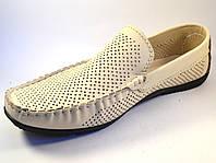 Обувь больших размеров мужская мокасины бежевые летние кожаные в сеточку Rosso Avangard M4 Beige Perf BS, фото 1
