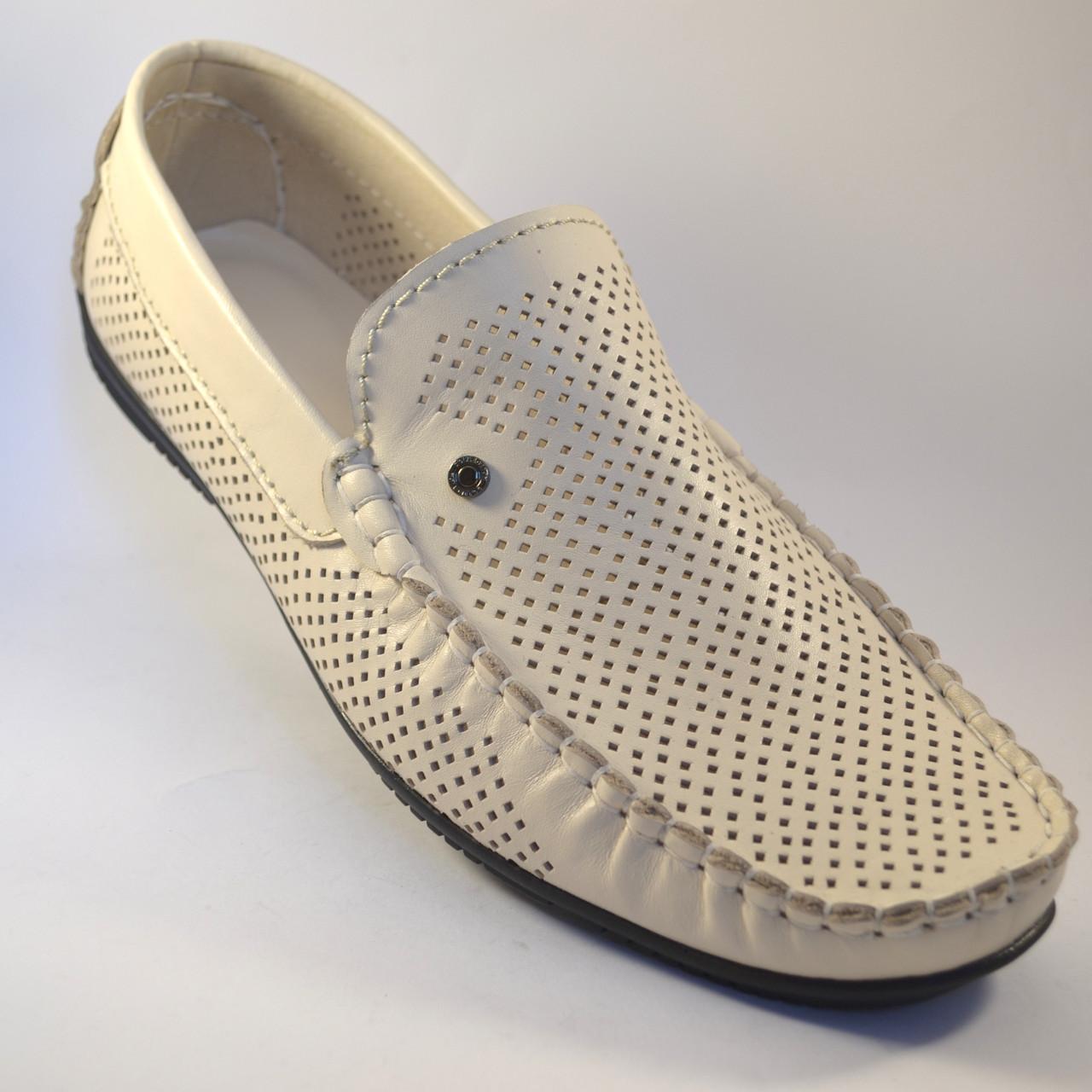 Мокасины бежевые мужские перфорированные кожаные летняя обувь Rosso Avangard M4 Beige Perf