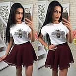 Женский костюм-тройка: футболка, юбка и шорты (3 цвета), фото 4