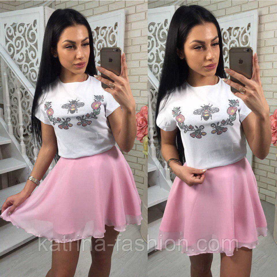 Женский костюм-тройка: футболка, юбка и шорты (3 цвета)
