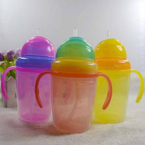 Поильник стакан непроливайка бутылочка детская с силиконовой трубочкой, фото 2