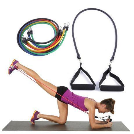 Эспандер трубчатый с ручками для фитнеса Crossfit комплект