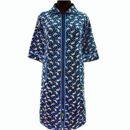 Теплый велюровый халат домашний на молнии с рукавом три четверти, фото 2