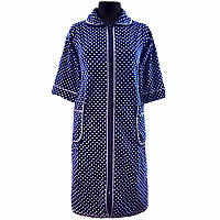 Велюровый халат в горошек домашний на молнии с карманом и рукавом три четверти