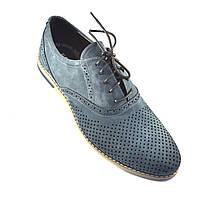 Большой размер летние туфли мужские замшевые в сеточку Rosso Avangard Romano Navy Grey Perf BS, фото 1