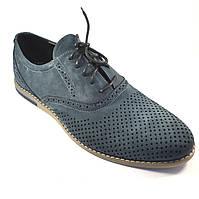 Летние туфли мужские замшевые в сеточку Rosso Avangard Romano Navy Grey Perf, фото 1