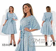 Женское батальное платье миди из вискозы