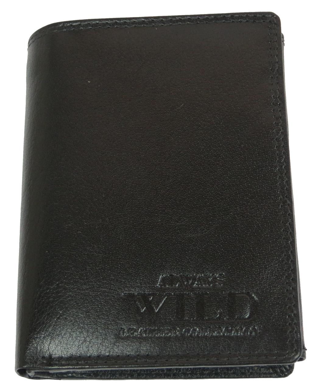 Вертикальное кожаное мужское портмоне ALWAYS WILD SN4BABP черный