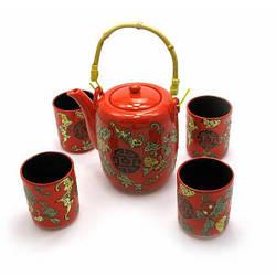 Сервиз керамический (чайник 700мл, h-13,5см, d-9см; 4 чашки 130мл, h-7,3см, d-6см)(27х17х12) ( 27895)