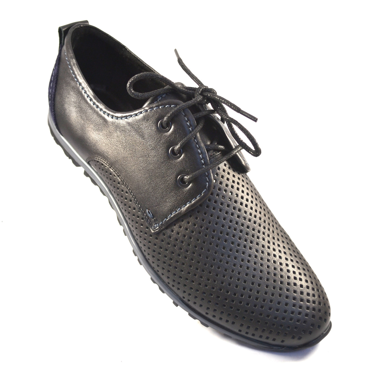 Большой размер летние кроссовки мужские в сеточку кожаные Rosso Avangard BS ANBlack черные