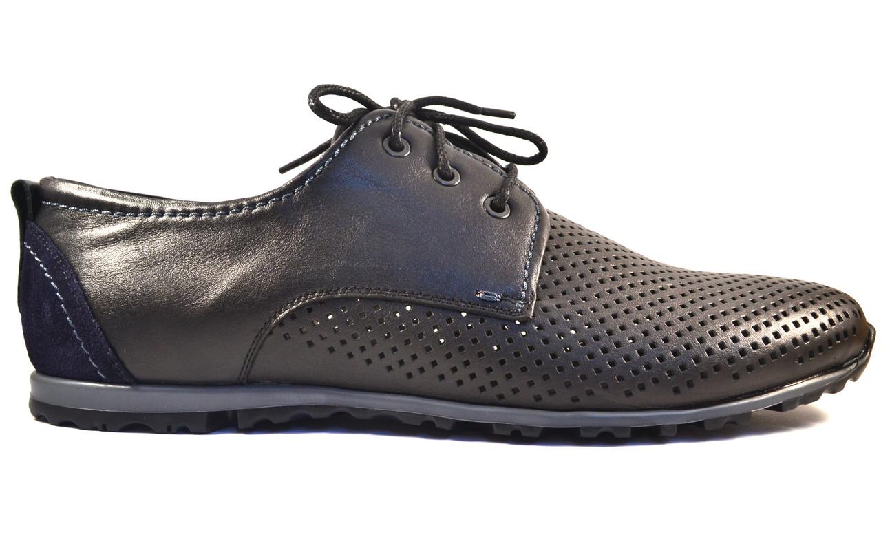 Летние кроссовки мужские в сеточку кожаные Rosso Avangard ANBlack черные