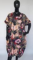 Платье летнее формы бочонка больших размеров из натуральной ткани