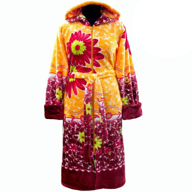 Халат махровый в орхидеях теплый с капюшоном и молнией!