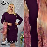 Женское платье с легким шарфом, в расцветках, р-р 54-58. АБ-3-0518