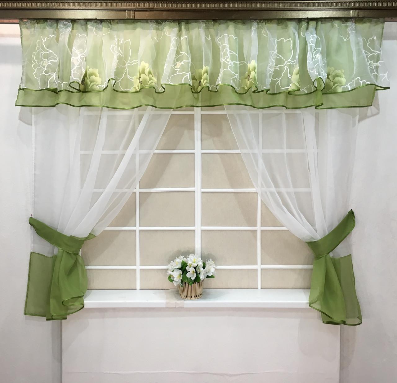 "Кухонные шторы ""Мармарис"" Зеленая"