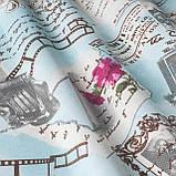 Декоративная ткань прованс со старыми фотоаппаратами и фотографиями серого цвета, фото 3