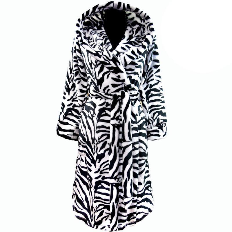 Подростковый теплый зимний махровый халат зебра на запах