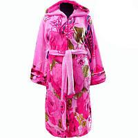bade633e942f Халат яркий женский теплый махровый в цветах с капюшоном и молнией!