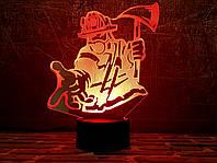 """3D светильник """"Пожарный ="""" 3DTOYSLAMP, фото 1"""