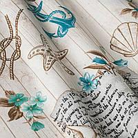 Декоративная ткань с морской тематикой с голубым якорем и коричневыми канатами завязанными в морские узлы