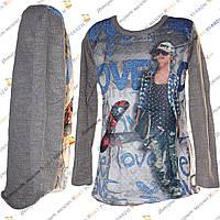 Кофта для девочки из Мешковины с Рисунком Рост: 140- 176 см