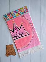 Прямоугольная праздничная скатерть розового цвета с надписьюPrincess!