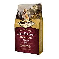 Сухой беззерновой корм Carnilove Cat Lamb & WildBoar Sterilised с ягненком и мясом дикий кабан для кошек 6 кг