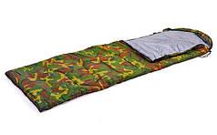 Спальный мешок одеяло с капюшоном камуфляж  (PL,х-б, 250г на м2,р-р 190+30х75см, t+15 до 0)