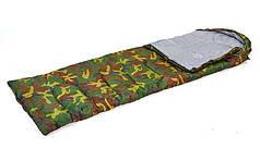 Спальный мешок одеяло с капюшоном камуфляж  (PL,х-б, 400г на м2,р-р 177+30х75см, t +15 до -5)