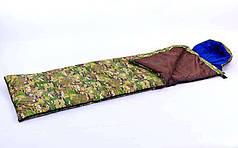 Спальный мешок одеяло с капюшоном камуфляж UR  (PL, х-б,300г на м2,р-р 185+35х72см,t+15 до 0)