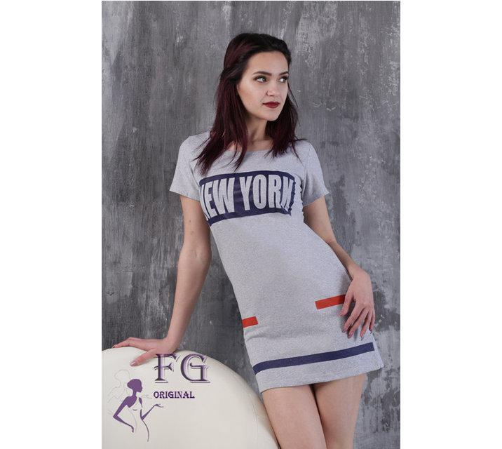 Летнеее спортивное платье по фигуре короткое серое