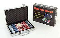 Набор для покера в алюминиевом кейсе  на 200 фишек с номиналом (2 кол.карт,5куб)
