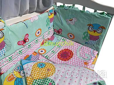 """Постельный набор в детскую кроватку (8 предметов) Premium """"Совы и бабочки"""" мятный"""