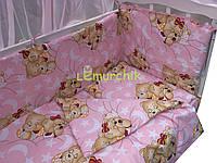 """Постельный набор в детскую кроватку (8 предметов) Premium """"Мишки спят"""" розовый"""