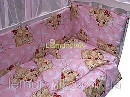 """Постільний набір в дитячу ліжечко (8 предметів) Premium """"Ведмедики сплять"""" рожевий"""