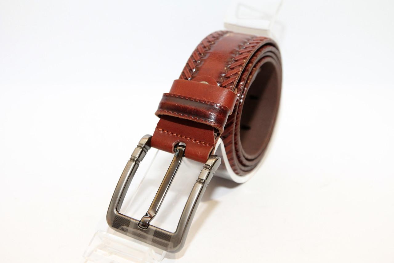 Кожаный  пояс коричневого цвета с классической пряжкой. Длина полотна 1150 мм (11303)