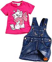 Детски джинсовый сарафан и футболка с кошечкой Мари (Marie), фото 1