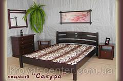 """Кровать """"САКУРА"""". Массив - сосна, ольха, дуб."""